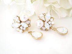 Opal drop earrings Gold bridal earrings Asymmetrical earrings Crystal and pearl earrings Rhinestone teardrop earrings Swarovski jewelry Etsy Jewelry, Jewelry Shop, Boho Jewelry, Bridal Jewelry, Fine Jewelry, Jewelry Design, Jewellery, Wedding Jewelry For Bride, Bridesmaid Jewelry