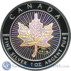 2001 1 oz Silver Canadian Maple Leaf - Good Fortune Hologram http://www.gainesvillecoins.com/