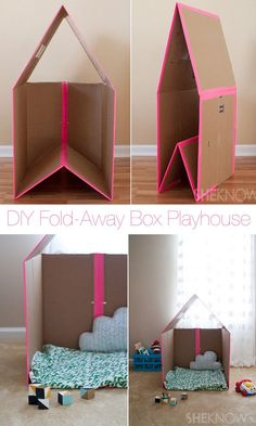 DIY Foldaway Cardbox Box Playhouse