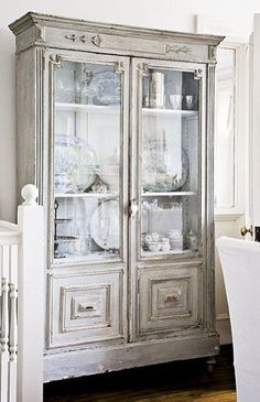 antique painted grey cabinet Shabby and Charme Blog