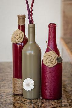 Burgundy Wine Bottle Set by ReclaimYourFaith on Etsy, $29.00 (Decorated Bottle Flowers)
