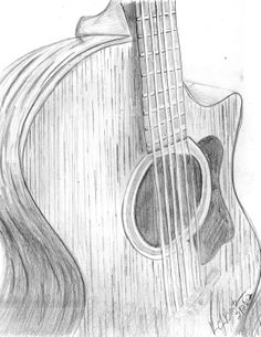 guitar drawing by Karen Leigh Burton