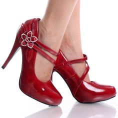 Red-Patent Stiletto Mary Jane Flower Womens High Heel Platform Shoes. Love at first site! If you order anything from the site, though, I've been told you should order 1-1.5 size bigger than what you'd normally wear.