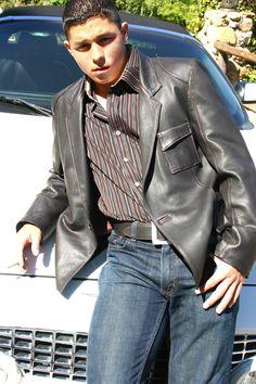 Casual yet elegant custom leather jacket from Leather Waves #mens fashion #custom leather #leather jackets #jackie robbins
