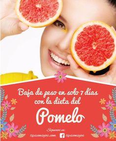 La Dieta Del Pomelo este cítrico posee pocas calorías,debido a la alta cantidad de agua y fibra que tiene te provoca sensación de saciedad,elimina el hambre