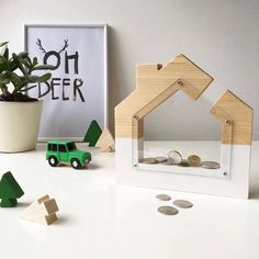 Wooden coin piggy bank house nursery decor baby gift kids room saving money spare change toy Kids penny bank Money storage Children frame by Mygreenhome on Etsy https://www.etsy.com/listing/592776873/wooden-coin-piggy-bank-house-nursery
