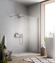 Walk-in shower with glass shower screen for modern bathroom design - Badezimmer - Women Bathroom Layout, Modern Bathroom Design, Bathroom Interior, Wallpaper Furniture, Bathroom Wallpaper, Shower Wall Panels, Shower Screen, Bad Inspiration, Bathroom Inspiration