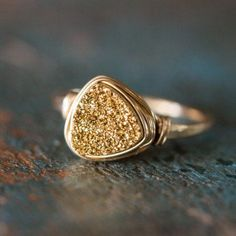 Gold Triangle Druzy Ring