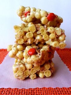 Kix Cereal bars with Reese's Pieces and Peanuts.