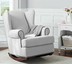 Swooning over this Wingback Rocker from Pottery Barn Kids. Snuggle with baby in the nursery, and then move it to your reading nook hen baby grows. This neutral rocker is a perfect piece to grow with. #potterybarnkids #spring2014