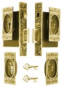 Double Pocket Door Lockign Set - how cool! This is a great set with skeleton keys too. Has a lock, and push button where an edge pull pops out - very nice.