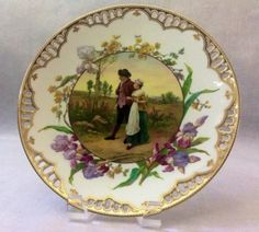 """19th century reticulated porcelain plate, artist signed """" HARTMANN """" , retailed by TIFFANY & CO Circa 1889."""