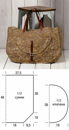 Knitting Bag Tutorial Simple Ideas For 2019 Crochet Handbags, Crochet Purses, Crochet Bags, Diy Bags Patterns, Handbag Patterns, Diy Bags Purses, Purses And Handbags, Simple Bags, Easy Bag