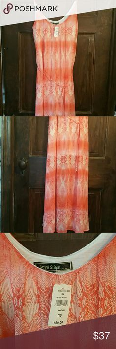 LOVE STITCH NEW CHIFFON MAXI DRESS. LOVELY! Luscious orange &white ethnic print. Half lined, ties at waist, adjustable straps. A real beauty! Love Stitch Dresses Maxi