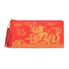 Prosperous red + gold wallet with dragon of success for your new money for a new year (faux leather) Find at www.10KBlessingsFengShuiBoutique.com/chinese-new-year