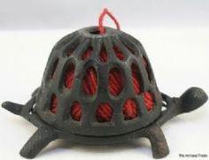 Vintage cast iron Turtle shaped knitting yarn ball holder