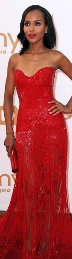 Zuhair Murad fringed/sequined dress #red
