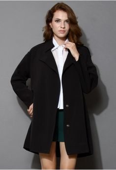 Simplicity Oversized Black Trench Coat