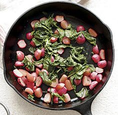 It never occurred to me to cook radishes! Honey-Roasted Radishes: Roasting mellows radishes' sharp bite, as does a touch of honey and delicate white balsamic vinegar. Wilted radish tops add great texture and a pop of color to the dish.