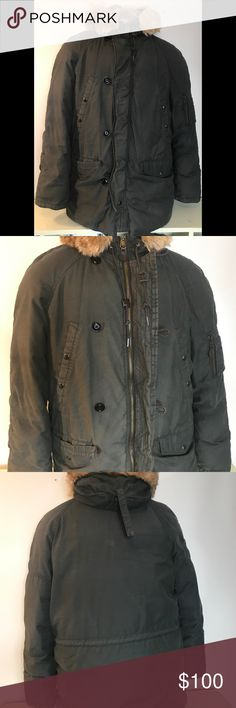 ♻️J Crew Men's Down Full Zip Button Down Jacket J Crew Men's Winter Down Full Zip Button Down Jacket with Fleece and Faux Fur Hood j crew Jackets & Coats Military & Field