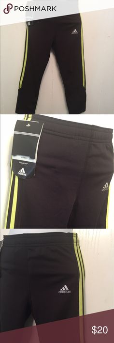 Adidas Climalite Compression Crop Capri Pants sz S Brand new condition with tags.  Stated size S.  Black Velocity .  Drawstring waist.  New with tags Adidas Pants Capris
