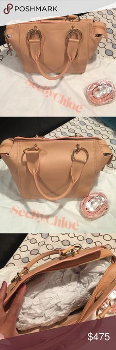 """SeeByChloe Paige peach pink handbag. High-shine hardware sets off soft, supple leather on See by Chloé's downtown-chic, two-in-one satchel with optional crossbody strap. leather. Current style at full retail price.  Imported Double handles, detachable adjustable crossbody strap Zip closure; lined Two interior slip pockets, interior zip pocket 13.5""""L x 7""""W x 9.5""""H; 6.5"""" handle drop, 22"""" strap drop See by Chloe Bags"""