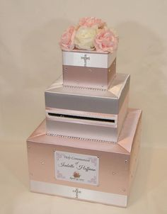 Holy Communion/ Baptism/ Christening Card Box -Blush Pink and White First Communion Cards, Baptism Cards, Christening Card, Christening Decorations, Communion Decorations, Blush Rosa, Blush Pink, Cigar Box Crafts, Gift Card Boxes