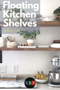 If you are looking for saving storage for your small kitchen that consumes only a little space, floating kitchen shelves will suit your needs. kitchen floating shelves | kitchen floating shelves decor | kitchen floating shelves wood | kitchen floating shelves diy | kitchen floating shelves and cabinets | kitchen floating shelves decor ideas | kitchen floating shelves modern | kitchen floating shelves white | #decor #wood #farmhouse #white #small Floating Shelf Decor, Floating Shelves Kitchen, Rustic Floating Shelves, Farmhouse Style Kitchen, Rustic Kitchen, Diy Kitchen, Kitchen Decor, Stainless Steel Kitchen Shelves, Kitchen Cabinetry