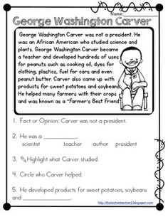 FREEBIE! George Washington Carver reading comprehension passage ...