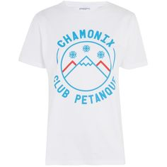 Chamonix T-Shirt by by Club Petanque ($43) ❤ liked on Polyvore featuring tops, t-shirts, white, white top, white t shirt, white cotton tops, white cotton tee and cotton tees