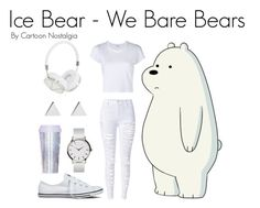 """""""Ice Bear - We Bare Bears"""" by kyoung-i ❤ liked on Polyvore featuring WithChic, Converse, Jennifer Meyer Jewelry, Frends, Miss Selfridge and RE/DONE"""