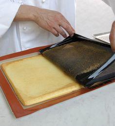 ID de M. Christophe MICHALAK : Avant de retourner le biscuit sur la silpat, retirer, par décollage, la fine couche du dessus du biscuit = permet un imbibage uniforme. TESTÉ & APPROUVÉ.