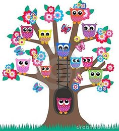 Owls in a tree. Lot of colorful owls sitting in a tree. Owl Crafts, Diy And Crafts, Crafts For Kids, Decoration Creche, Owl Clip Art, Owl Classroom, Owl Pictures, Owl Always Love You, Beautiful Owl