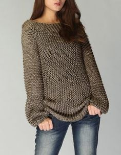 Hand knit sweater Eco cotton long sweater in Mocha por MaxMelody