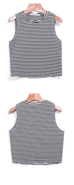 Round Neck Striped Slim Tank Top. Come Romwe.com for pieces for any occasion!