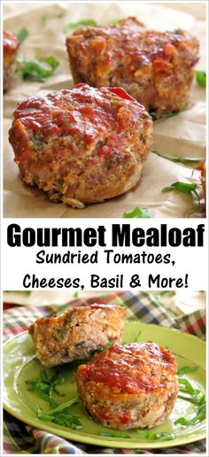 The BEST Meatloaf Recipe - your family will beg you to make it again and again. Made with oatmeal so it's gluten-free with tips to make it healthy. Make a loaf or in muffin tins and freeze it too! loaf Gourmet Meatloaf Recipe with Sun-dried Tomatoes Gourmet Meatloaf Recipe, Gluten Free Meatloaf, Good Meatloaf Recipe, Best Meatloaf, Mini Meatloaf Recipes, Turkey Meatloaf Recipe With Oatmeal, Italian Meatloaf, Meat Recipes, Food Dinners