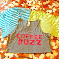 "3 Lounge Tanks Bundle of 3 lounge tank tops. Blue and green are the same (pics 2&3). They have skinny stripes on the front and thick stripes on the back. Raw hems, only worn once, perfect condition from Old Navy. The grey is F21 and says ""coffee buzz"" on the front. Worn once, perfect condition. Thin fabric, great for warm days.  Size: Stripes are size Medium but fit like a Small. Grey is size Small.  Condition: GUC  PayPal/Trades  Please ask any questions prior to purchasing. All sales…"