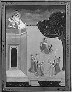 """Ragamala texts describe the woman in this scene as """"a lady whose gesture is one of languor and silence, whose eyes are restless from lack of sleep, who is exhausted by the effort of love-making."""" Here, the artist shows a woman sitting with arms upraised in longing, looking back at an empty bed in an attempt to translate the mood of the text and the related musical passage into a pictorial representation"""
