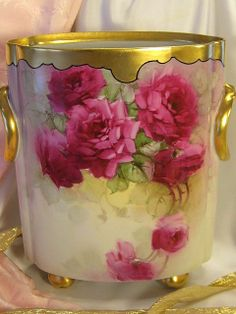 Antique Bavarian Cache Pot, Vase with Fuchsia Pink Tea Roses