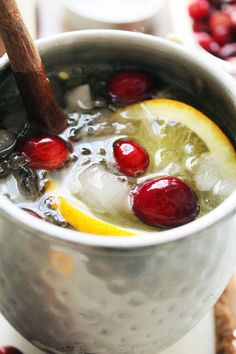 Holiiday Mule with spiced ginger simple syrup