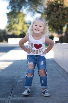 Beauty and the Beast Casual Disney Outfit, Birthday Party Outfit Ideas, Ripped Boyfriend Fit Jeans for Toddler Girls