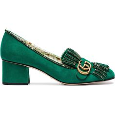 Gucci Marmont 55 suede tassel pumps (4,960 AED) ❤ liked on Polyvore featuring shoes, pumps, green, gucci, block heel pumps, beaded pumps, green shoes and green suede shoes