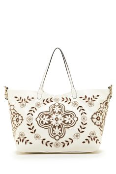 Designers We Love Valentino Leather Embroidered Large Tote