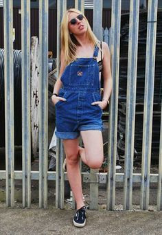 Vintage 90's Blue Shorts Dungarees