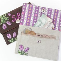 In-the-Hoop Wallets Embroidery Designs sc071d and In-the-Hoop Wallet and Change Purse Sewing Directions in PDF