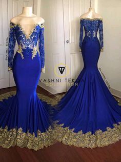 Royal Blue Evening Mermaid Dresses 2019 New Long Sleeve Floor Length Deep V Neck Black Girl Prom Gowns Formal Party Dress Plus Size Cream Prom Dresses, Royal Blue Prom Dresses, Prom Dresses For Teens, Prom Outfits, Prom Gowns, Lace Prom Gown, Lace Gowns, Dress Prom, Ball Dresses