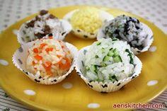 5 color fist bap   [rice, minced beef, seaweed, zucchini, carrot, egg, sesame oil, sesame seeds, spring onion, bulgogi sauce]