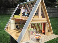 Picture result for modern doll house - Little houses i would like to live in (if only i wer . - Picture result for a modern dollhouse – Little houses i would like to live in (if only i were sma - A Frame Cabin, A Frame House, Attic Renovation, Attic Remodel, Triangle House, Open Stairs, Small Attics, Small Spaces, House Stairs