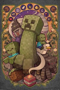 Buy Minecraft:Creeper Nouveau - Maxi Poster online and save! Minecraft:Creeper Nouveau – Maxi Poster Maxi Poster 61 × Our posters are rolled, wrapped and shipped in poster mailing tu. Minecraft Mobs, Minecraft Kunst, Minecraft Posters, Minecraft Drawings, Minecraft Images, Minecraft Fan Art, Minecraft Wallpaper, Minecraft Crafts, Minecraft Buildings