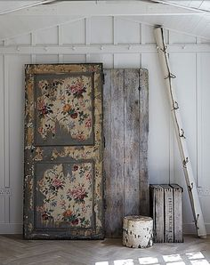 Wallpaper on the door... I have 3 old doors I salvaged ages ago, just waiting for the right thing to do to them. This may be it.
